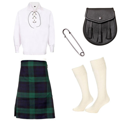 5 Piece Silver Kilt Package - Including 5 Yard Kilt, Sporran and Kilt Pin