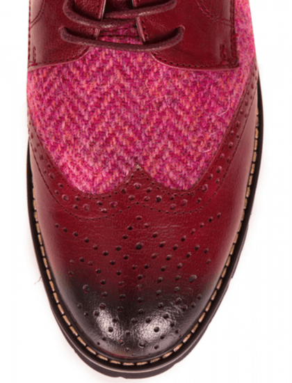 Ladies Harris Tweed Brogues by Snow Paw - Maroon