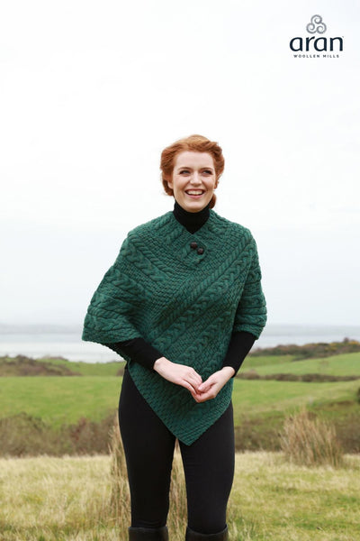 Ladies Merino Wool Poncho by Aran Mills - 8 Colours