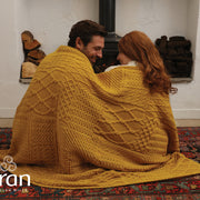 Patchwork Knit Merino Wool Blanket/Throw by Aran Mills - 4 Colours