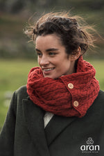 Ladies Merino Wool Buttoned Snood by Aran Mills - 4 Colours