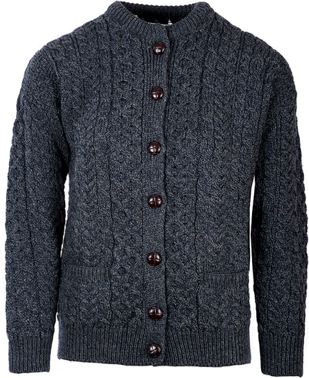 Ladies Classic Merino Wool Button Cardigan by Aran Mills - 3 Colours