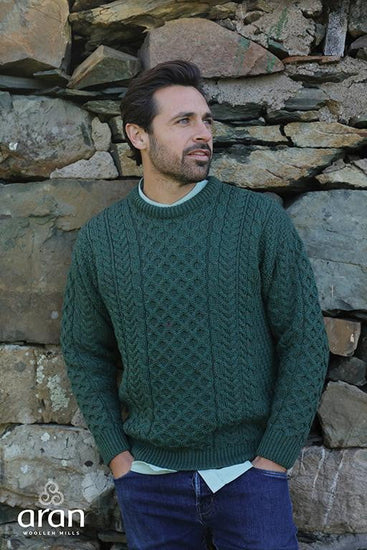Mens Crew Neck Sweater by Aran Mills - 3 Colours