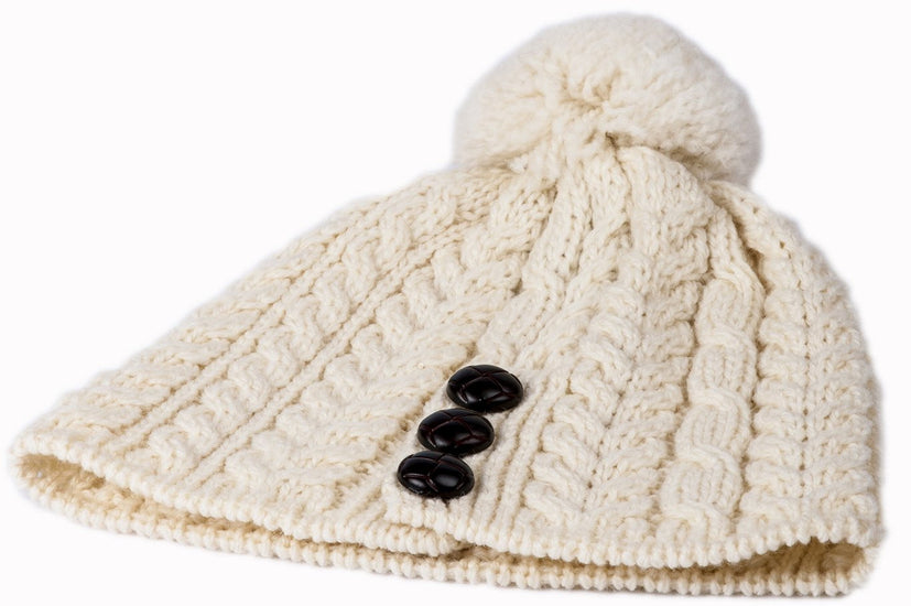 Ladies Merino Wool Hat with Bobble by Aran Mills - 5 Colours