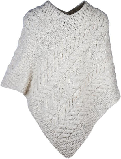 Ladies Merino Wool Large Weave Poncho by Aran Mills - 4 Colours