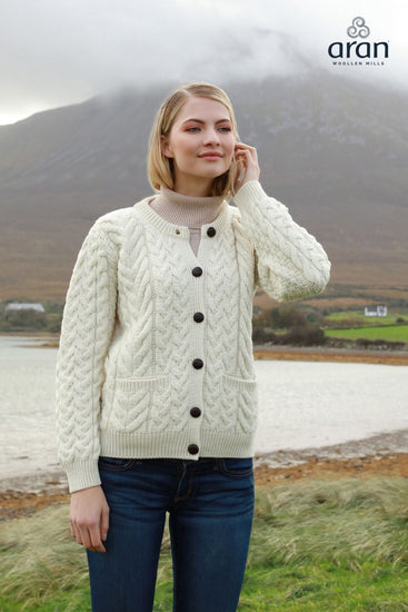 Ladies Cable Crew Wool Cardigan by Aran Mills - 2 Colours