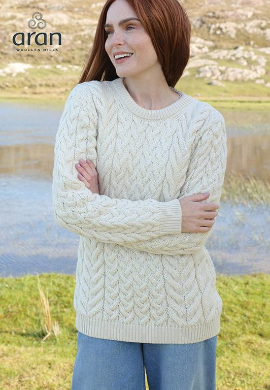 Ladies Cable & Weave Crew Neck Sweater by Aran Mills - 2 Colours