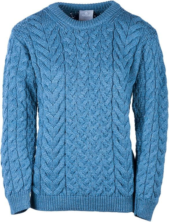 Ladies Cable & Weave Crew Neck Sweater by Aran Mills - 4 Colours