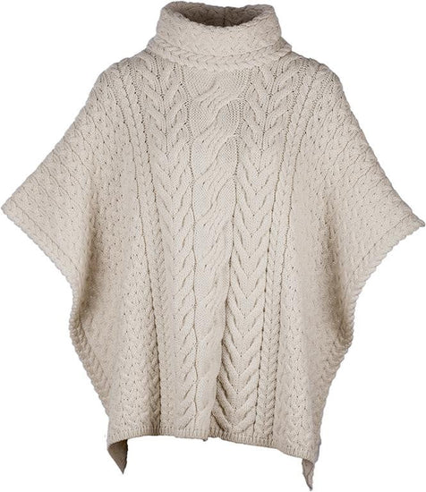 Ladies Cowl Neck Wool Poncho by Aran Mills - 5 Colours