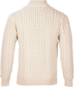 Men's Zip Neck Merino Wool Jumper by Aran Mills - Cream