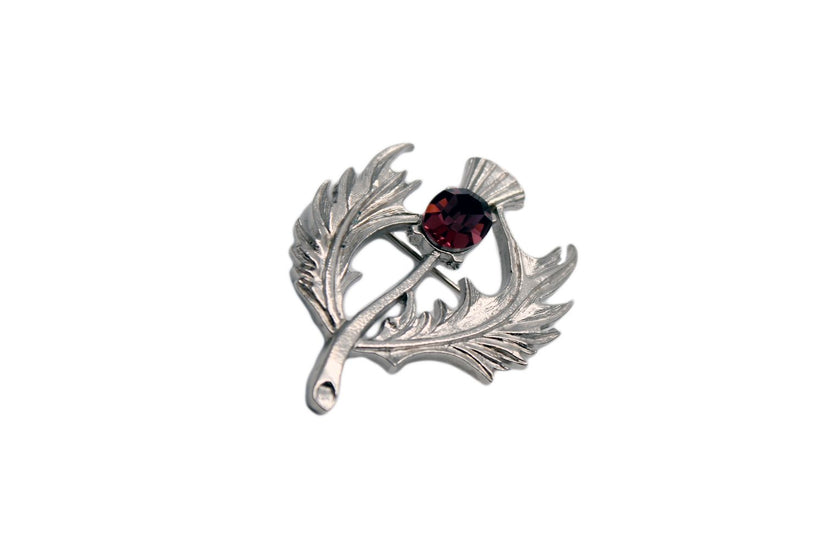 Wild Thistle Design Brooch with Amethyst Stone