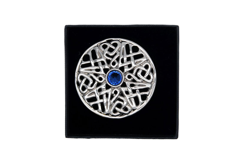 Circular Celtic Design Brooch with Stone Detail