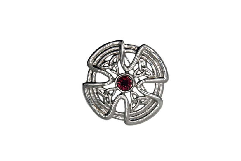 Celtic Circle Cross Design Brooch with Stone Detail
