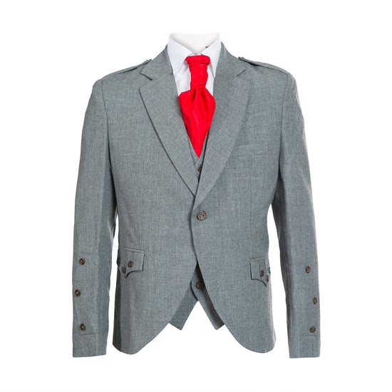 Light Grey Tweed Crail Jacket with 5 Button Vest - Clearance