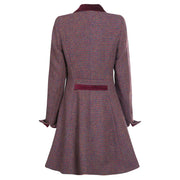 Ladies Harris Tweed Coat - Tara - Red/Green Mix