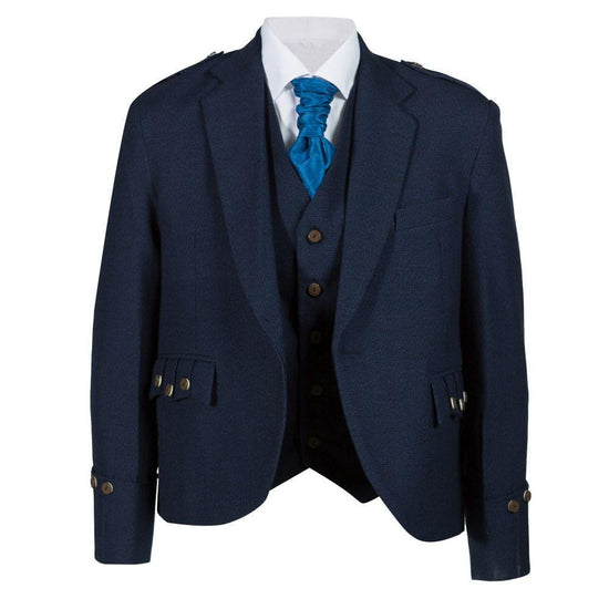 Tweed Argyle Jacket and 5 Button Vest - Navy Tweed