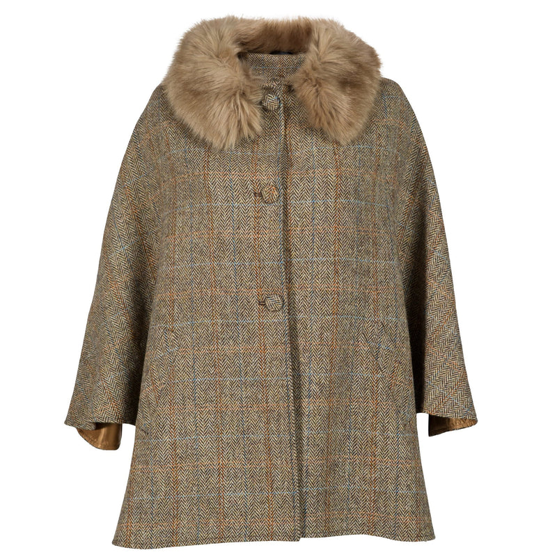Ladies Harris Tweed Cape - Brown