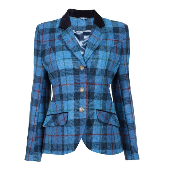 Ladies Single Breasted Harris Tweed Blazer - Blue/Red Check