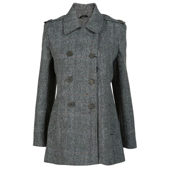Ladies Double Breasted Harris Tweed Jacket - Black/White Herringbone Coloured Check