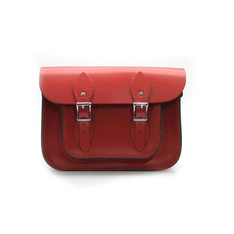 15 inch Real Leather Buckle Satchel Bag - Red