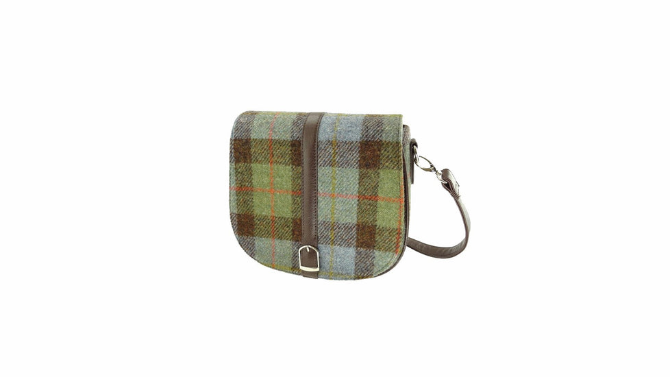 Harris Tweed Small Beauly Shoulder Bag in Green/Blue Check