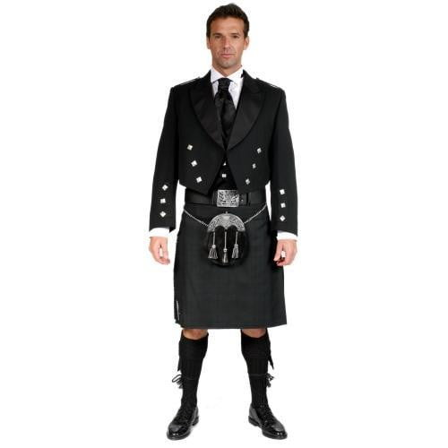 Black Isle Tartan Prince Charlie Jacket Dress Kilt Outfit with 16oz 8 Yard Handmade Kilt