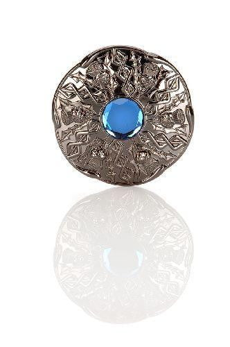Jewel Thistle Plaid Brooch In Black Chrome Finish With Blue Stone