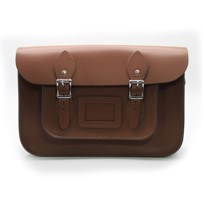 12.5 inch Real Leather Buckle Satchel Bag - Brown