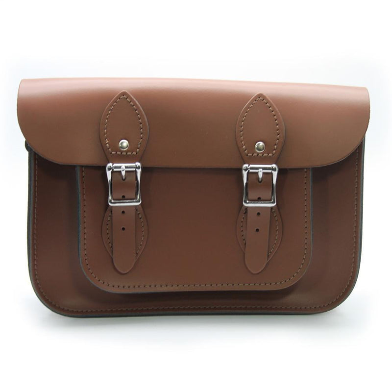 11 inch Real Leather Buckle Satchel Bag - Brown
