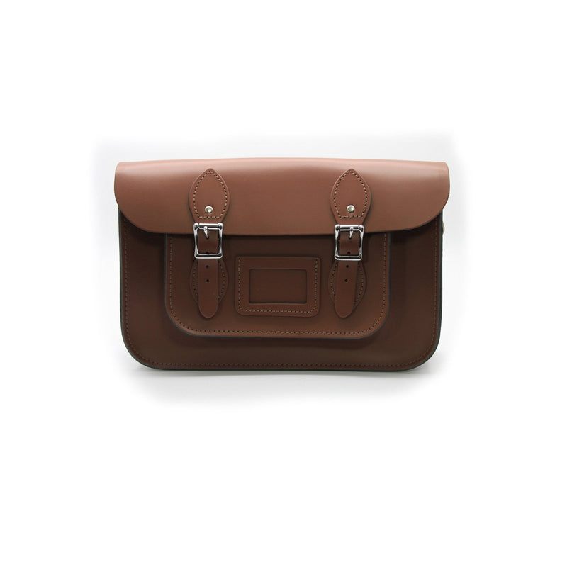 14 inch Real Leather Buckle Satchel Bag - Brown