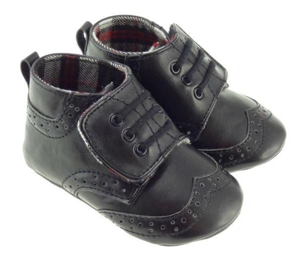 Boys Black Brogue Slippers