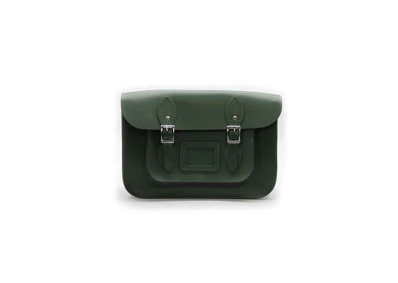 12.5 inch Real Leather Buckle Satchel Bag - Green