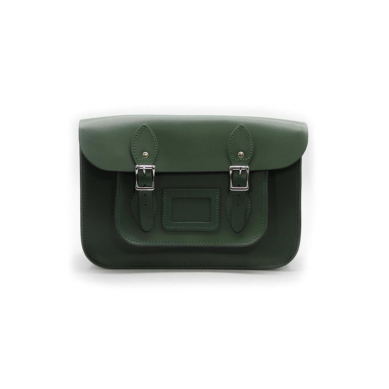 15 inch Real Leather Buckle Satchel Bag - Green