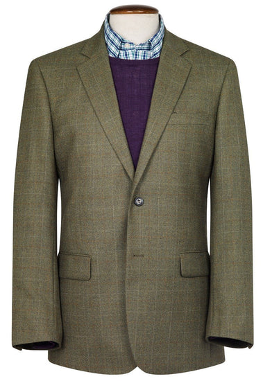 Camberley Olive 100% Wool Check Jacket by Brook Taverner