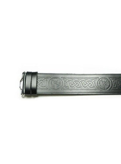 Celtic Thistle Embossed Kilt Belt