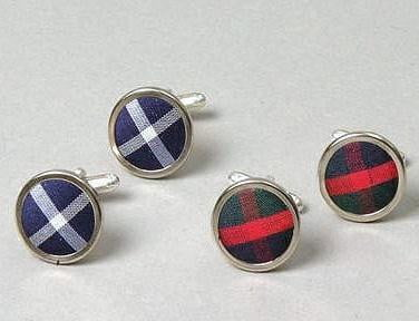 Men's Silk Tartan Cufflinks - Made to Order