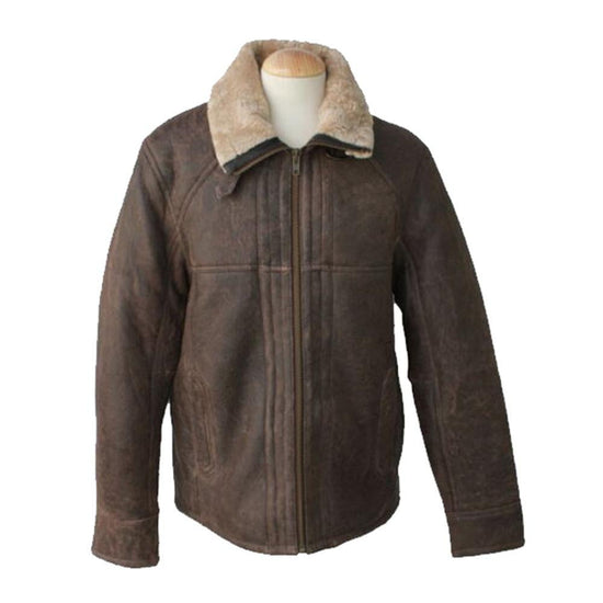New Sheepskin Aviator Men's Leather Coat - Dean - Chocolate Forest