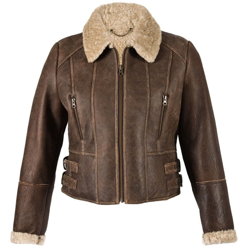 New Sheepskin Aviator Ladies Leather Coat - Ella - Chocolate Forest