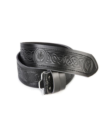 Black Leather Embossed Celtic Thistle Belt