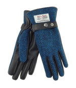 Ladies Harris Tweed Gloves - Blue Herringbone/Black Leather