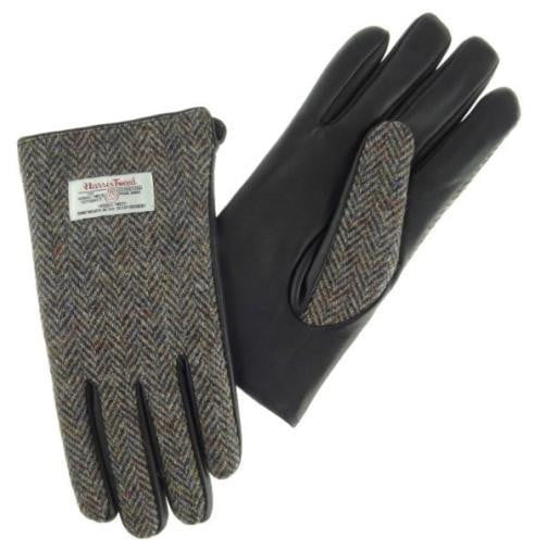 Mens Harris Tweed Gloves - Brown