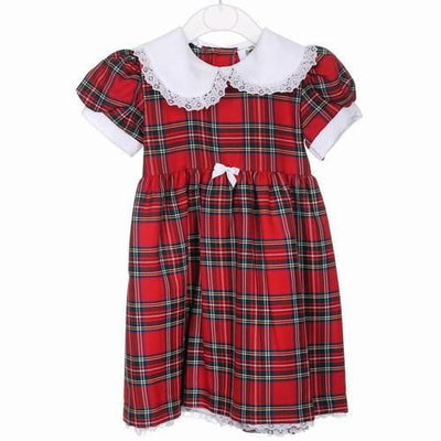 Girls Tartan Dress with white bow, Royal Stewart