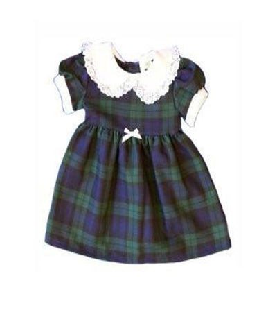 Girls Tartan Dress with white bow, Black Watch