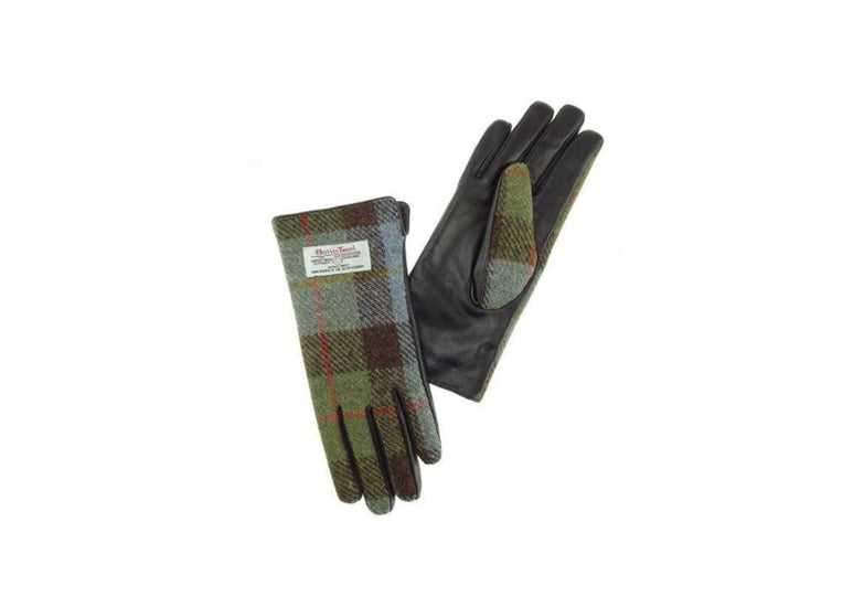 Ladies Harris Tweed Gloves - Tartan/Brown