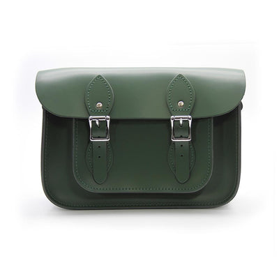 11 inch Real Leather Buckle Satchel Bag - Green