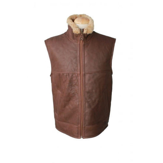 New Sheepskin Aviator Style Men's Leather Coat - Harvey - Cognac