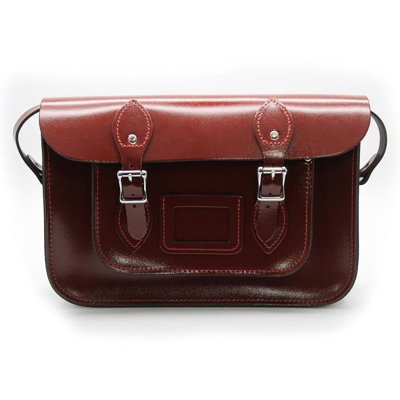 12.5 inch Real Leather Buckle Satchel Bag - Hazel