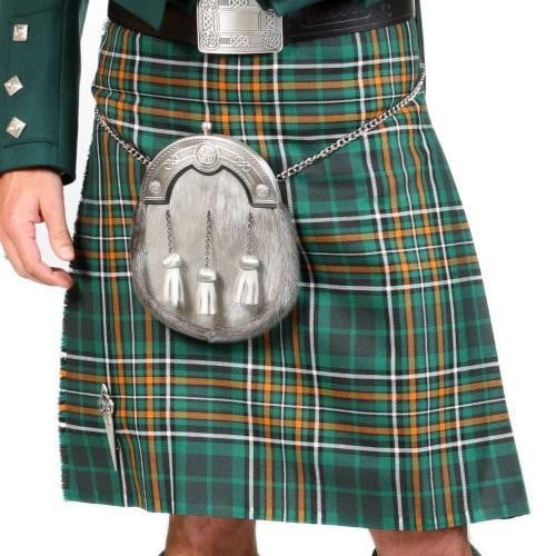 Men's 8 Yard Kilt Irish County 100% Wool 13oz Mediumweight Tartan, Traditionally Hand Stitched