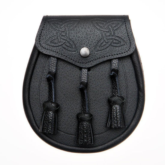 Twin Swirl Celtic Embossed Black Leather Sporran