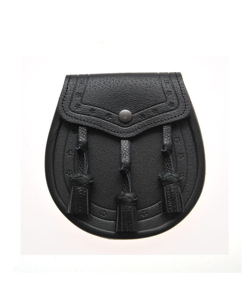 Classic Embossed Black Leather Sporran
